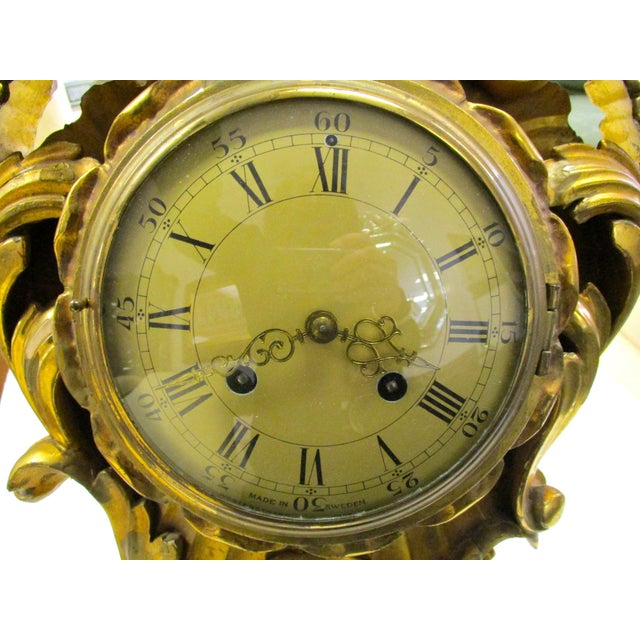 Early 19th Century Antique Swedish Gold Gilt Wall Clock For Sale - Image 5 of 5