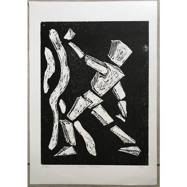 Black Pablo Pino Hombre Povera Linocut Print For Sale - Image 8 of 8