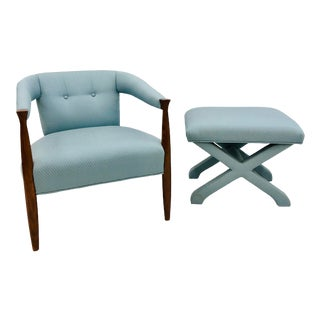Vintage Mid Century Modern Arm Chair & Ottoman For Sale