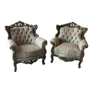 Gray Rococo Style Linen Tufted Chairs. For Sale