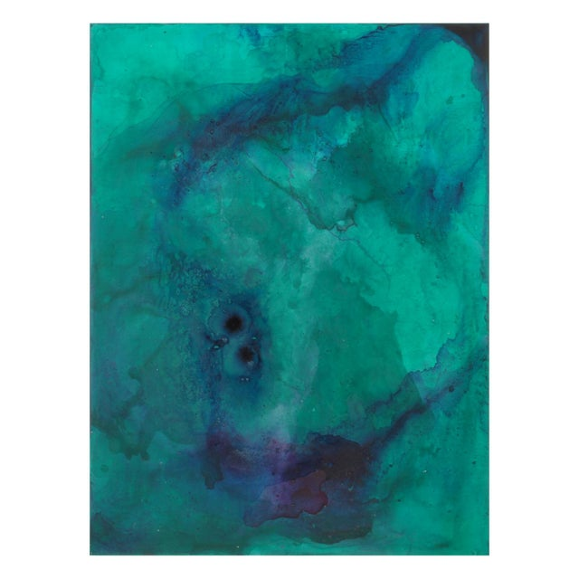 This vibrant mixed media abstract is layered in jewel tone shades of translucent green, blue and purple. The depth of...