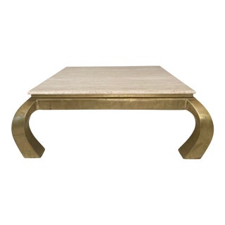 Vintage Brass and Travertine Ming Style Coffee Table For Sale