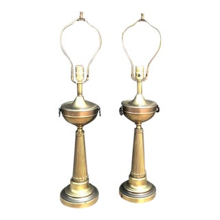 Mid-Century Brass Trumpet Lamps W/ Knocker Handle Detail - a Pair For Sale