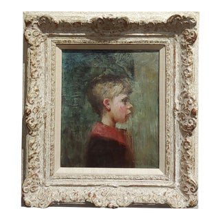 "19th Century American School ""Profile of a Young Boy"" Oil Painting For Sale"