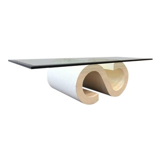 Grass Cloth Covered Scroll Coffee Table in Style of Karl Springer For Sale