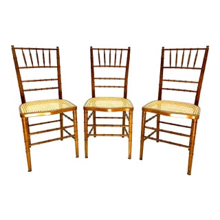 Mid Century Regency Cane Faux Bamboo Chairs Made in Spain—Set of 3 For Sale