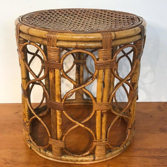 Set of Three Graduating/ Nesting Bamboo, Rattan and Reed Nesting Side Tables For Sale - Image 12 of 13