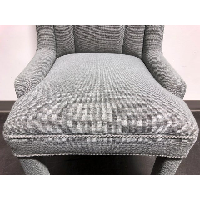 High-End Grey Channel Back Parsons Chairs - Pair 3 For Sale - Image 9 of 12
