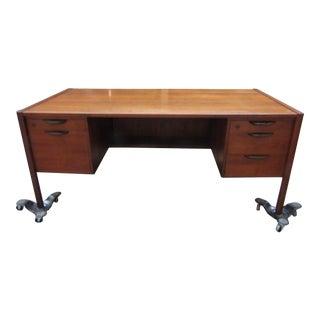 Jens Risom Executive Walnut Desk For Sale
