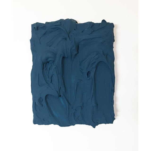 Deep Teal Excess Sculptural Painting For Sale - Image 11 of 11