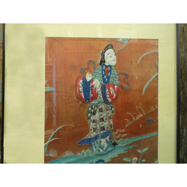 Asian Vintage Chinese Hand Embroidery Framed Wall Decor For Sale - Image 3 of 6