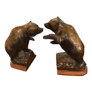 Bronze Bear Bookends - a Pair For Sale