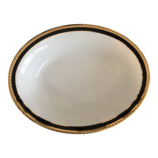 Late 20th Century Tiffany Black Band China Oval Vegetable Bowl For Sale
