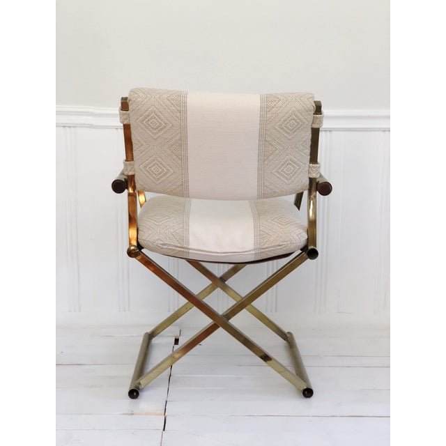 1970s Mid Century Brass Milo Baughman Style Campaign Director's Chair For Sale - Image 4 of 11