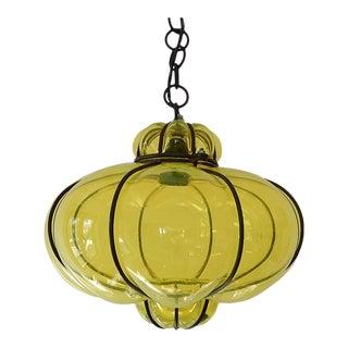 Midcentury Seguso Style Murano Neon Yellow Bubbles Blown Lantern Chandelier For Sale