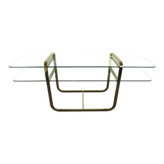 1970s Mid-Century Modern DIA Brass and Glass 2-Tier Console Table For Sale