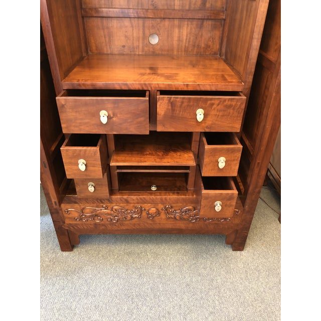 2000s Asian Style Walnut Bar or Media Armoire For Sale - Image 5 of 13