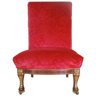 19th Century American Empire Rosewood Slipper Chair with Gilt Detailing For Sale