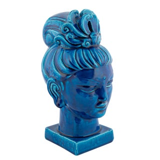 """Rimini Blu"" Ceramic Guan Yin Bust by Aldo Londi for Bitossi, Circa 1960s For Sale"