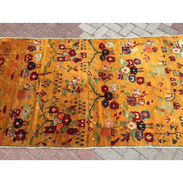 Orange Vintage Hand Knotted Turkish Rug For Sale - Image 4 of 11
