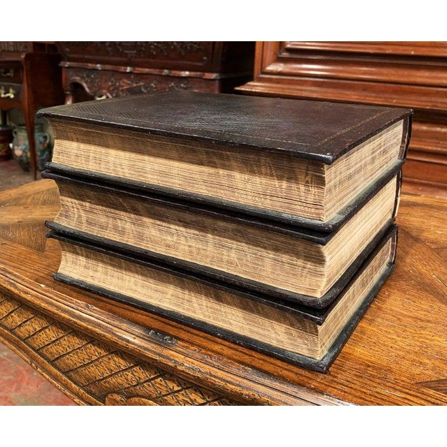Mid 19th Century 19th Century English Leather Bound and Gilt Holy Family Bible - 3 Volume Set For Sale - Image 5 of 7