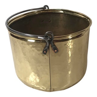 20th Century French Country Hammered Brass Jamb Pot With Bail
