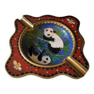 Cloisonné Panda Bear Ashtray For Sale