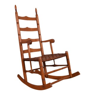 Antique 19th Century Ladderback Shaker Rocker For Sale
