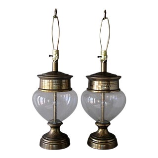 Berman Lamps Blown Glass Globes Patinated Bronze Metal - a Pair For Sale