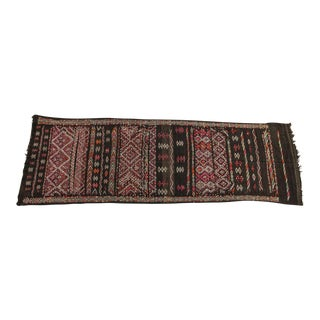 Moroccan African Tuareg Vintage Black Runner Rug For Sale