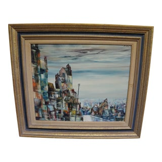 1960s Vintage Cityscape Abstract Impressionism Oil on Canvas Painting by Mark Selva For Sale