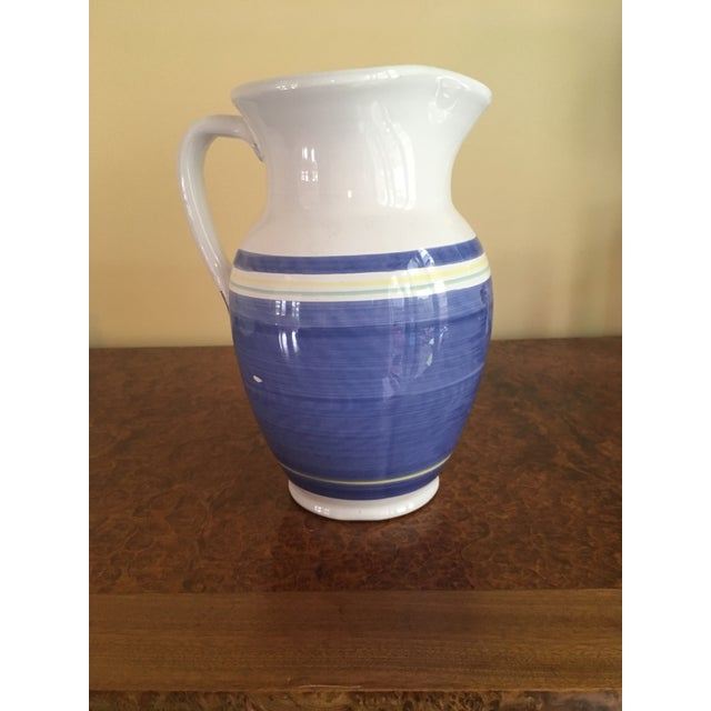 Blue & White Earthenware Pitcher For Sale - Image 4 of 6