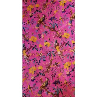 10 Yards Pink Bird Floral Chinoiseri Cotton Velvet Upholstery Fabric For Sale