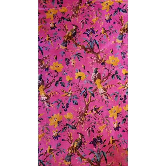 5 Yards Pink Bird Floral Chinoiseri Cotton Velvet Upholstery Fabric For Sale