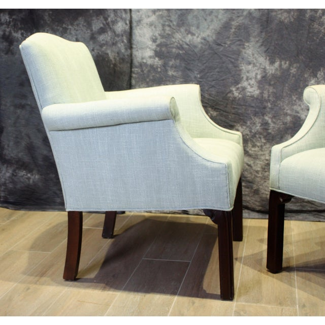 Contemporary Late 20th Century Vintage Camel Back Club Chairs- a Pair For Sale - Image 3 of 9