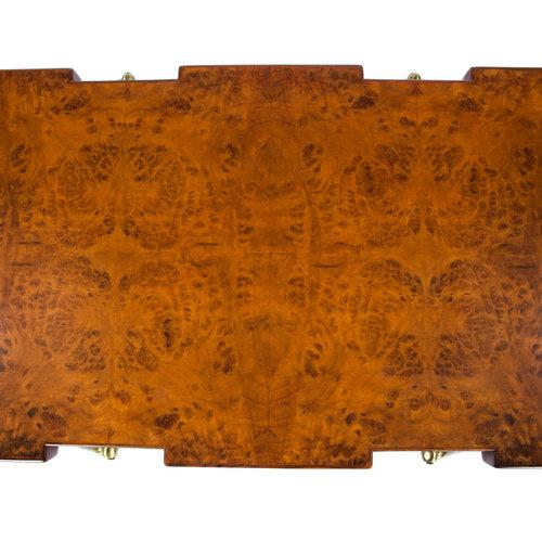 1950s BURL WALNUT AND BRASS 1950S COFFEE TABLE BY ICO PARISI FOR SINGER AND SONS For Sale - Image 5 of 8