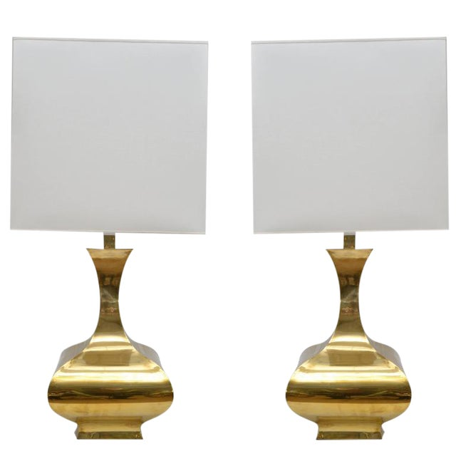 Tall Solid Brass Vessel Shape Table Lamps, a Pair - Image 1 of 10
