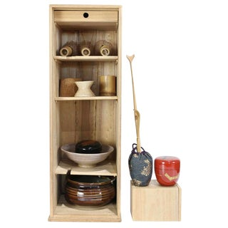 Japanese One Shelf of Tea Ceremony Articles/Utensils - 13 Piece Set For Sale