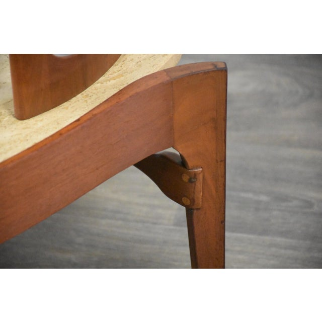 Bertha Schaefer Walnut and Travertine End Tables - a Pair For Sale - Image 9 of 11