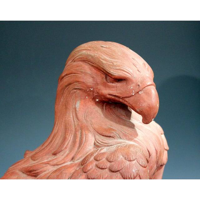 Brown American Golden Eagle Sculpture Large Painted Plaster Figure Signed For Sale - Image 8 of 11