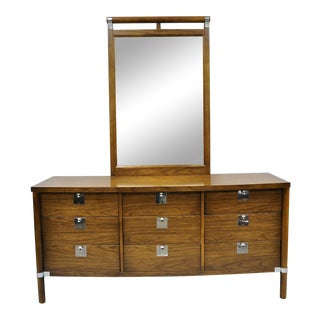 Vintage Mid Century Modern Walnut & Chrome 9 Drawer Credenza Dresser With Mirror For Sale