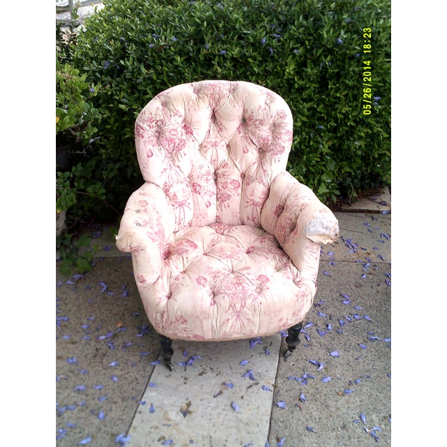Late 18th Century Victorian French Tufted Chair For Sale - Image 5 of 5
