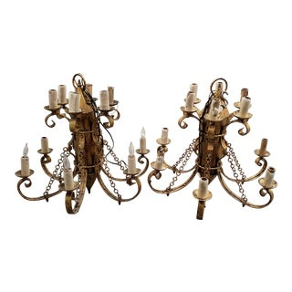 Matching Pair of Large Gothic Hollywood Regency Chandeliers C.1940s For Sale