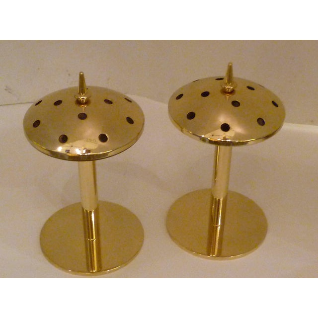 Pair of Modern Hans Agne Jakobsson Solid Brass Candleholders 1950s For Sale - Image 9 of 12