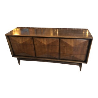 1960s Mid Century Modern United Furniture Diamond Front Credenza For Sale