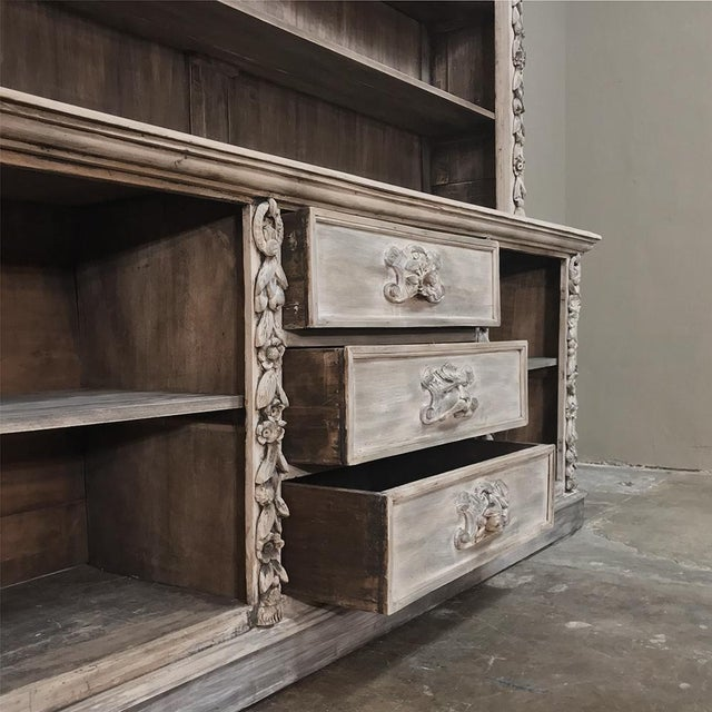 White 19th Century Grand Hand Carved Stripped Oak English Bookcase For Sale - Image 8 of 12