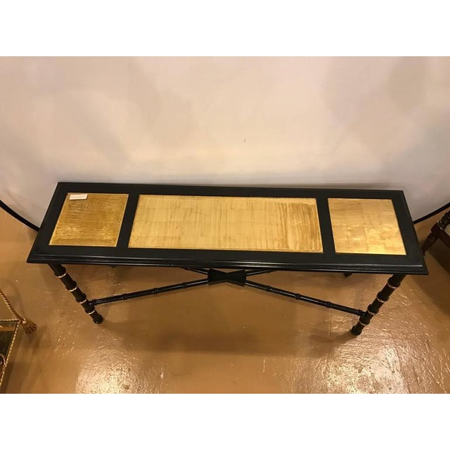 Maison Jansen Ebonized Faux Bamboo and Gilt Gold Console or Serving Table Manner of Jansen For Sale - Image 4 of 10