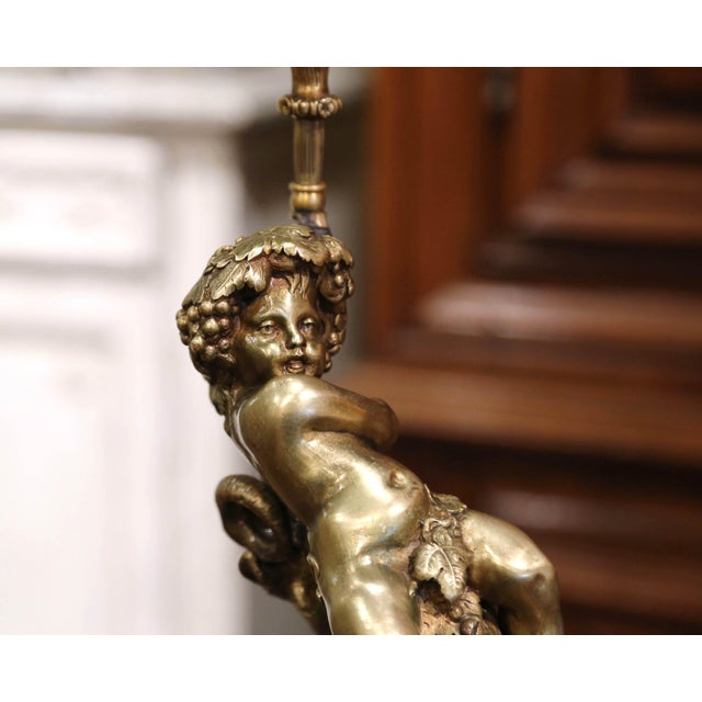 Bronze 19th Century French Bronze Dore Young Bacchus and Ram Table Lamp on Marble Base For Sale - Image 8 of 13