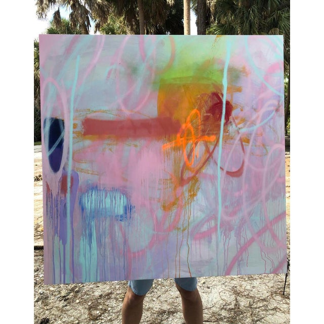 Pink Abstract Acrylic Painting on Panel by Mirtha Moreno For Sale - Image 8 of 12
