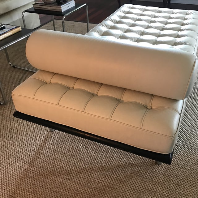 Vegan Leather Barcelona Style Daybed With Round Bolster Pillow For Sale - Image 4 of 12